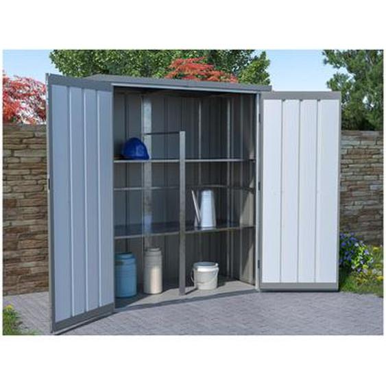 Armoire de rangement de jardin en acier galvanisé gris SEVY - 2,30 m3 - L160 x P85 x H180 cm