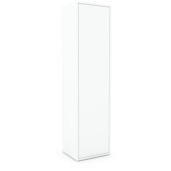 Armoire haute - Blanc, moderne, pour documents, avec porte Blanc - 41 x 157 x 35 cm, personnalisable