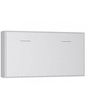 Armoire lit horizontale escamotable STRADA-V2 blanc mat couchage 90*200 cm.