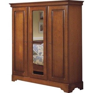 Armoire merisier 3 portes glace centrale