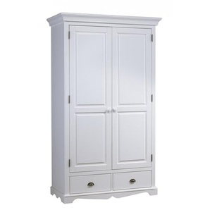 Armoire Penderie Blanche 2 Portes 2 Tiroirs