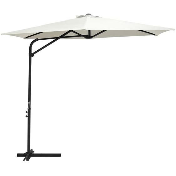 Parasol dexterieur avec mat en acier 300 cm Blanc sable