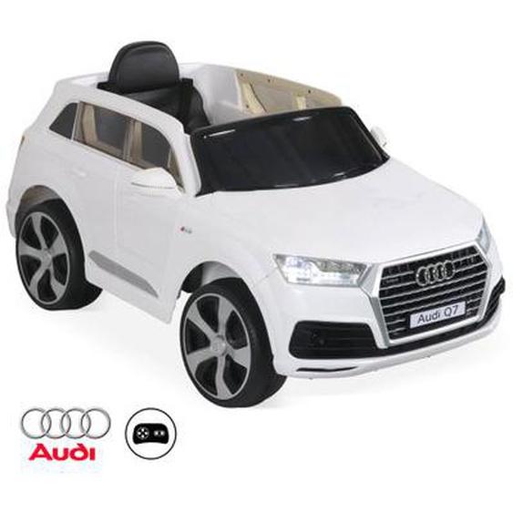 AUDI Q7 Blanc. voiture électrique 12V. 1 place. 4x4 pour enfants avec autoradio et télécommande