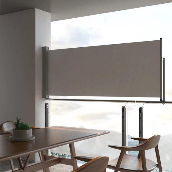 Auvent latéral rétractable de patio 100 x 300 cm Gris
