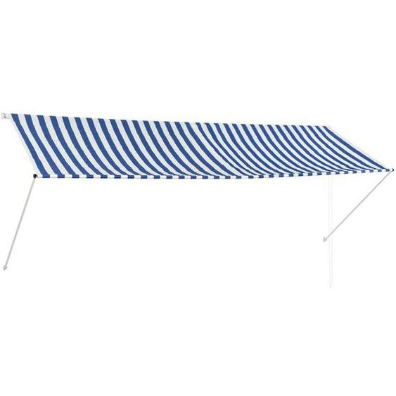 Auvent Rétractable 350x150 Cm Bleu Et Blanc