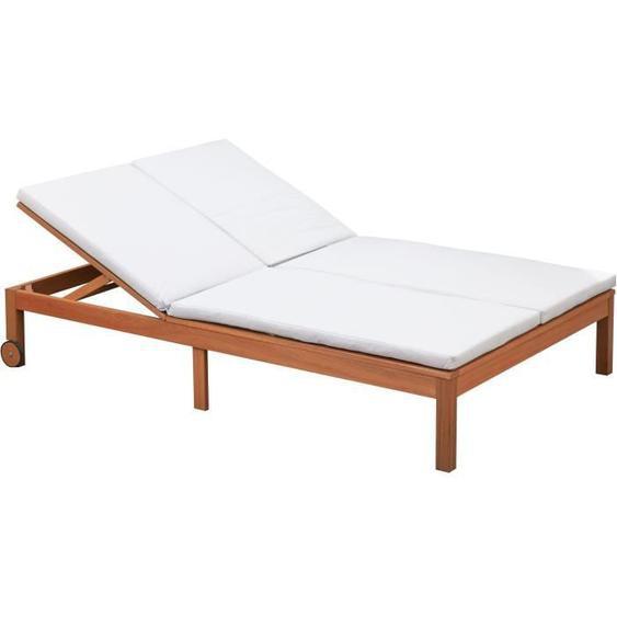 Bain de soleil - En bois deucalyptus FSC - 2 places avec coussins