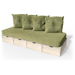 Banquette cube 200 cm + futon + coussins  Brut