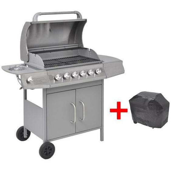 Barbecue à gaz 6 + 1 zone de cuisson Argenté - ZQYRLAR