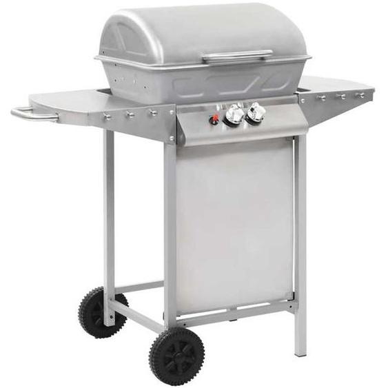 Barbecue à gaz avec 2 zones de cuisson Acier Argenté - ZQYRLAR
