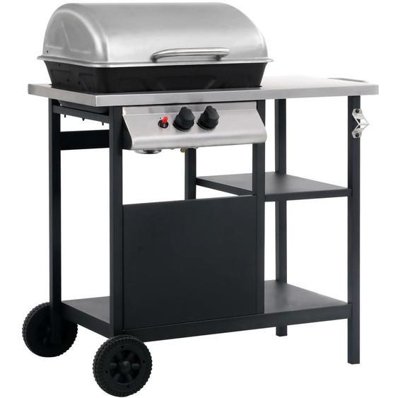 Barbecue à gaz avec tablette à 3 couches Noir et argenté - ZQYRLAR
