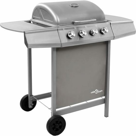 Barbecue gril à gaz avec 4 brûleurs Argenté - ZQYRLAR