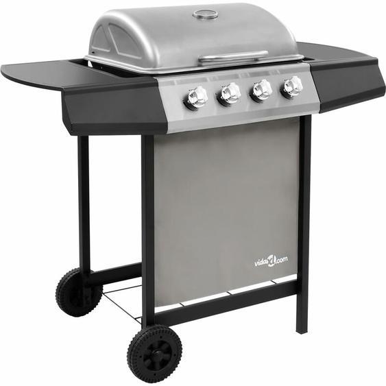 Barbecue gril à gaz avec 4 brûleurs Noir et argenté - ZQYRLAR