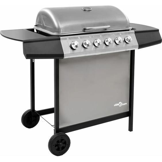 Barbecue gril à gaz avec 6 brûleurs Noir et argenté - ZQYRLAR