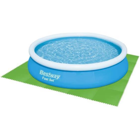 BESTWAY Lot de 9 Dalles de protection de sol en mousse vert 78 x 78 cm ép 4 mm (tapis de sol pour piscine hors sol ou spa gonflable)