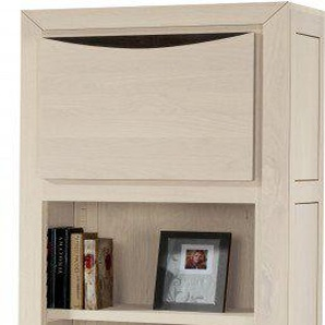 Bibliothèque 1 porte chêne massif blanc pierre 2 étagères 2 tiroirs