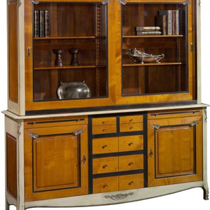 Bibliothèque 2 portes 5 tiroirs merisier