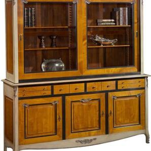 Bibliothèque 3 portes 4 tiroirs merisier 2 corps