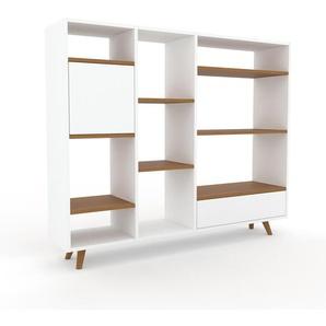 Bibliothèque - Blanc, design contemporain, avec porte Blanc et tiroir Blanc - 154 x 130 x 35 cm