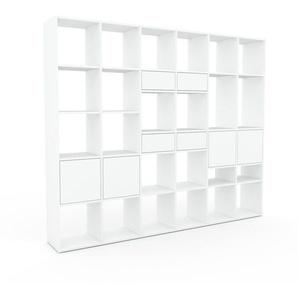 Bibliothèque - Blanc, design contemporain, avec porte Blanc et tiroir Blanc - 233 x 195 x 35 cm
