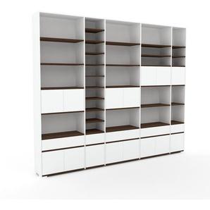 Bibliothèque - Blanc, design contemporain, avec porte Blanc et tiroir Blanc - 303 x 254 x 35 cm