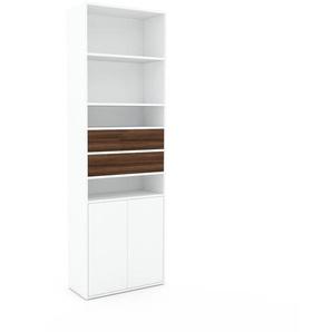 Bibliothèque - Blanc, design contemporain, avec porte Blanc et tiroir Noyer - 77 x 233 x 35 cm