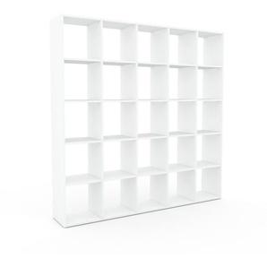 Bibliothèque - Blanc, design, étagère pour livres, sophistiquée, ouverte et fonctionelle - 195 x 195 x 35 cm, personnalisable