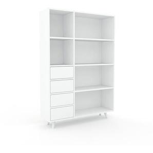 Bibliothèque - Blanc, modèle tendance, rangements pour livres, avec tiroir Blanc - 116 x 168 x 35 cm, modulable