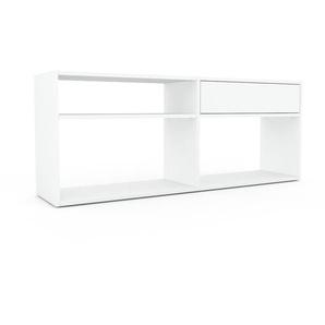 Bibliothèque - Blanc, modèle tendance, rangements pour livres, avec tiroir Blanc - 152 x 61 x 35 cm, modulable