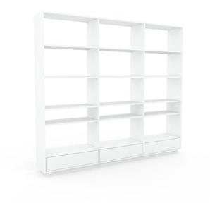 Bibliothèque - Blanc, modèle tendance, rangements pour livres, avec tiroir Blanc - 226 x 200 x 35 cm, modulable