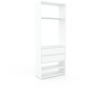 Bibliothèque - Blanc, modèle tendance, rangements pour livres, avec tiroir Blanc - 77 x 195 x 35 cm, modulable