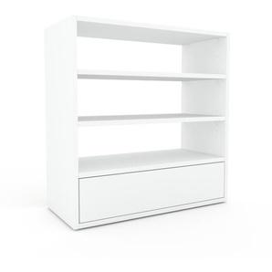 Bibliothèque - Blanc, modèle tendance, rangements pour livres, avec tiroir Blanc - 77 x 80 x 35 cm, modulable