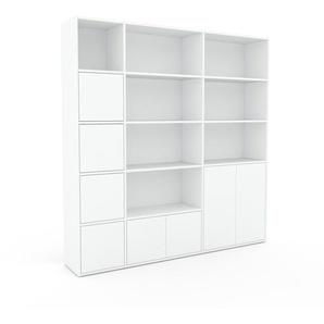 Bibliothèque - Blanc, pièce de caractère, rangements raffiné, avec porte Blanc - 190 x 195 x 35 cm, configurable