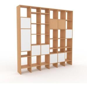 Bibliothèque - Hêtre, pièce de caractère, rangements raffiné, avec porte Blanc - 233 x 233 x 35 cm, configurable