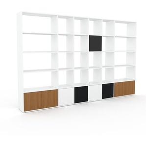 Bibliothèque - Blanc, pièce de caractère, rangements raffiné, avec porte Chêne - 306 x 195 x 35 cm, configurable