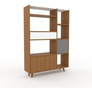 Bibliothèque - chêne, design contemporain, avec porte chêne et tiroir blanc - 116 x 168 x 35 cm