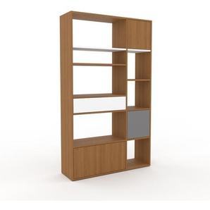 Bibliothèque - chêne, design contemporain, avec porte chêne et tiroir blanc - 116 x 195 x 35 cm