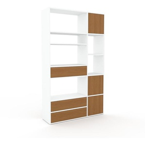 Bibliothèque - Blanc, design contemporain, avec porte Chêne et tiroir Chêne - 116 x 195 x 35 cm