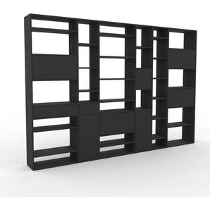 Bibliothèque - Anthracite, design contemporain, avec porte Anthracite et tiroir Anthracite - 342 x 233 x 35 cm