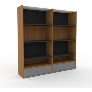 Bibliothèque - Chêne, modèle tendance, rangements pour livres, avec tiroir Gris - 152 x 157 x 35 cm, modulable
