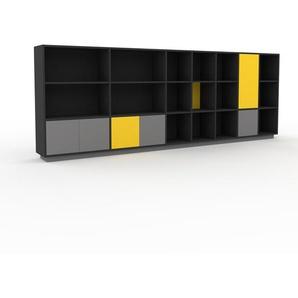 Bibliothèque - Anthracite, pièce de caractère, rangements raffiné, avec porte Gris - 344 x 124 x 35 cm, configurable