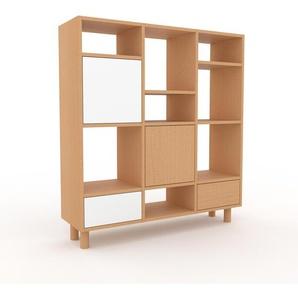 Bibliothèque - Hêtre, design contemporain, avec porte Blanc et tiroir Blanc - 118 x 130 x 35 cm