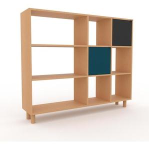 Bibliothèque - hêtre, pièce de caractère, rangements raffiné, avec porte bleu - 154 x 130 x 35 cm, configurable