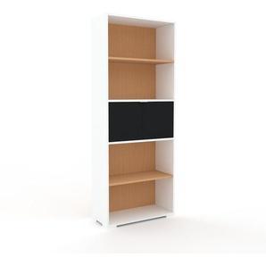 Bibliothèque - Blanc, pièce de caractère, rangements raffiné, avec porte Noir - 77 x 196 x 35 cm, configurable