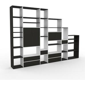 Bibliothèque murale - Blanc, combinable, étagère, avec porte Anthracite et tiroir Anthracite - 342 x 233 x 35 cm