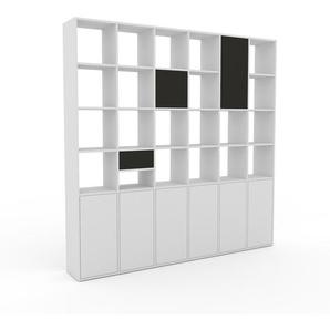 Bibliothèque murale - Blanc, combinable, étagère, avec porte Blanc et tiroir Anthracite - 233 x 233 x 35 cm