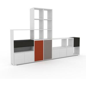 Bibliothèque murale - Blanc, combinable, étagère, avec porte Blanc et tiroir Anthracite - 306 x 196 x 35 cm