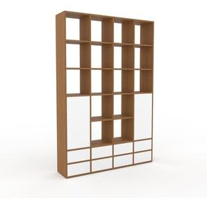 Bibliothèque murale - Chêne, combinable, étagère, avec porte Blanc et tiroir Blanc - 156 x 233 x 35 cm