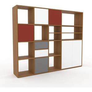 Bibliothèque murale - chêne, combinable, étagère, avec porte blanc et tiroir blanc - 193 x 157 x 35 cm