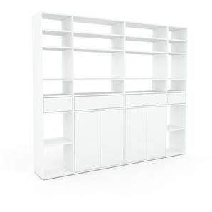 Bibliothèque murale - Blanc, combinable, étagère, avec porte Blanc et tiroir Blanc - 229 x 195 x 35 cm