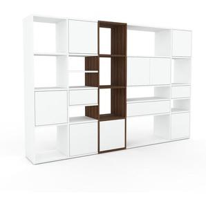 Bibliothèque murale - Blanc, combinable, étagère, avec porte Blanc et tiroir Blanc - 231 x 157 x 35 cm